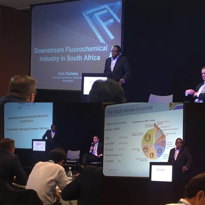 Pelchem's Managing Director Ivan Radebe presenting at the Fluorspar 2017 Conference in Amsterdam